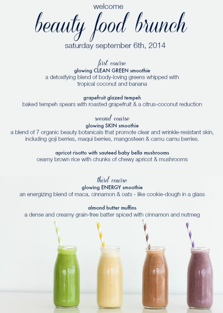 Beauty Food Brunch Menu