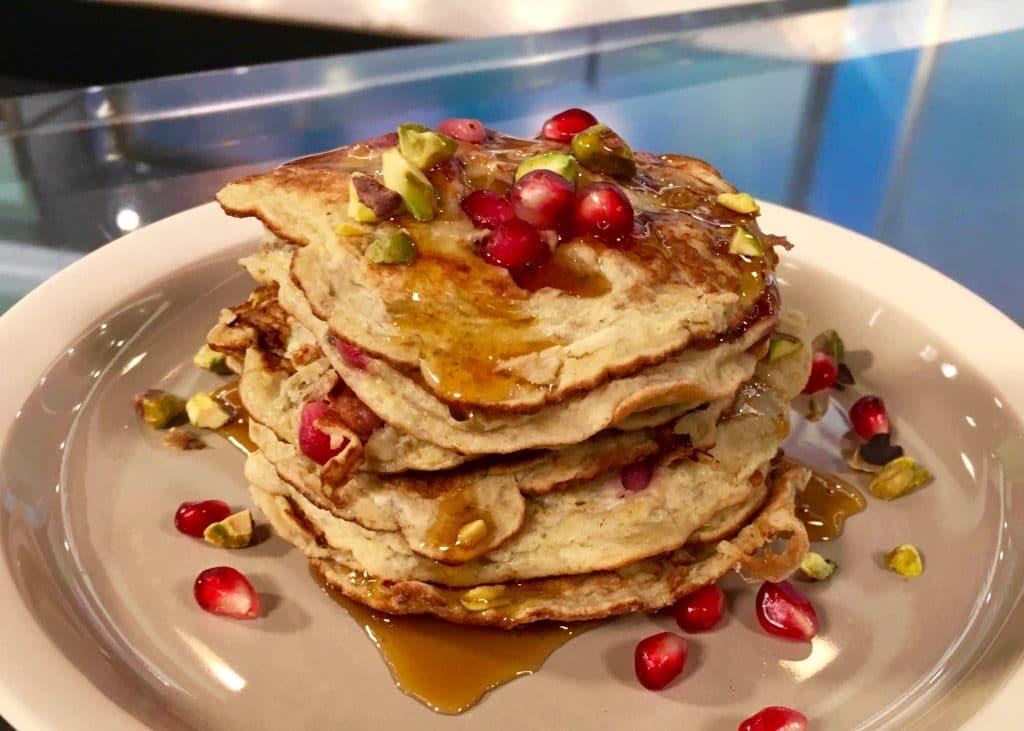 pomegranate and pistachio pancakes
