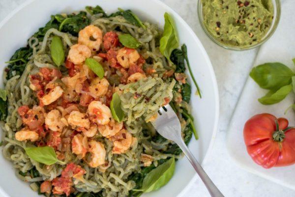 Shirataki Basil Pesto Pasta with Garlic Shrimp