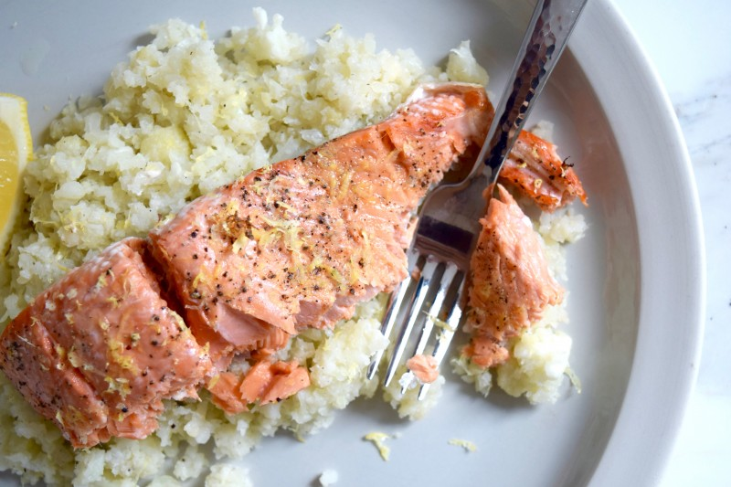Quick Healthy Weeknight Recipes - Lemon Pepper Salmon with Cauliflower Rice