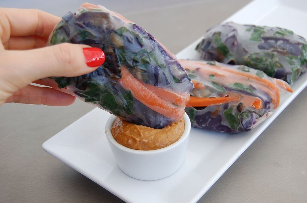 Veggie Spring Roll with Almond Butter Dipping Sauce